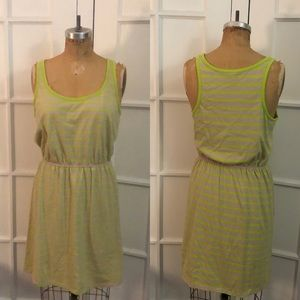 Old Navy tan and chartreuse stripe knit sun dress